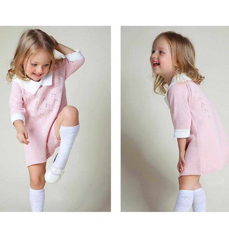 New-2016-Bobo-Chose-Dress-Cotton-Knit-Crochet-Baby-Girl-Romper-Kids-Seven-Sleeve-Jumpsuit-Infant-New-Born-Toddler-Sweater-Dress-2
