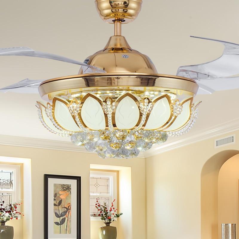 decorativos hoja de luz con control remoto ventilador luces ventilador de techo de cristal moderno