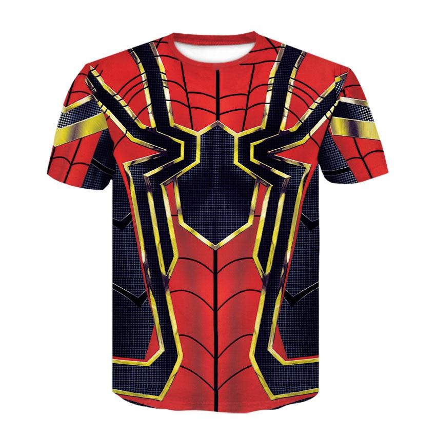 Marvel Avengers Iron Man T-shirt Spider-Man T-shirt Full Printed Tee Tops Short Sleeve Summer Cosplay Costume Unisex T Shirt New