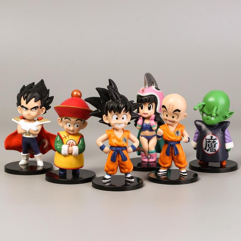 6Pcs Amine Figma Mini Dragon Ball Z GOKU Golden FRIEZA GREAT VEGETA APE Vinyl Action Figure Collectible Model Toy