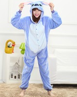 Cute Blue Stitch Animal Pajamas Winter Warm Sleepwear Robe Cartoon Pijamas Unisex Adults Flannel Onesies Cosplay