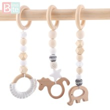 Bite Bites 3pc/set Baby Rattle Wooden Baby Toy Mobile For Baby Cot Hanging Toys Newborn Children's Educational Toys Crib Rattle(China)