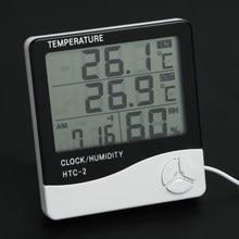 Cubierta LCD Electrónico Digital Termómetro Higrómetro Temperatura Humedad Medidor Reloj Despertador Estación Meteorológica