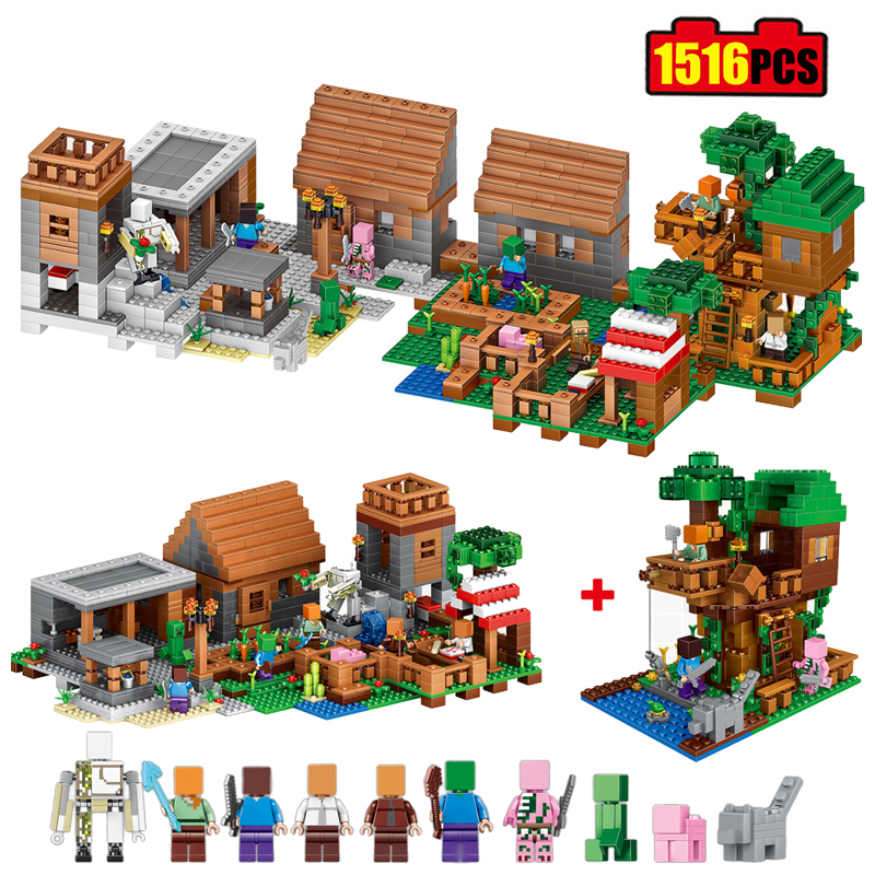 Minecrafted Model Town Group Building Block Compatible Legos Minecraft Village City Bricks Toy Holiday Gift for Children 1516pcs lepin city town city square building blocks sets bricks kids model kids toys for children marvel compatible legoe