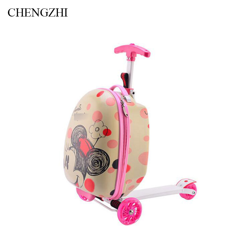 CHENGZHI Cartoon Skateboard Multifunction PC Rolling Luggage Spinner Suitcase Suitable Children Carry On Luggage On Wheels