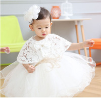 2016 Baby Christening Gown White Tulle Infant Princess Baptism Dress Toddler Baby Girls Party Wedding Dress