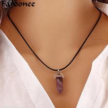 Pingente de cristal de bala colares para mulher vintage corda gargantilha hexágono cristal pilar encantos colar corrente presentes jóias 8c0568