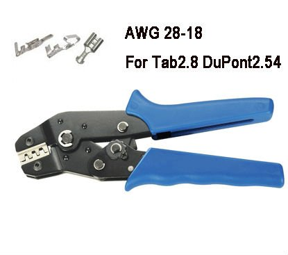 цена на Non-Insulated Tabs Terminals Crimper Plier AWG 28-18 For Tab2.8 DuPont2.54 free shippng pressed terminal diameter:0.1~1mm2