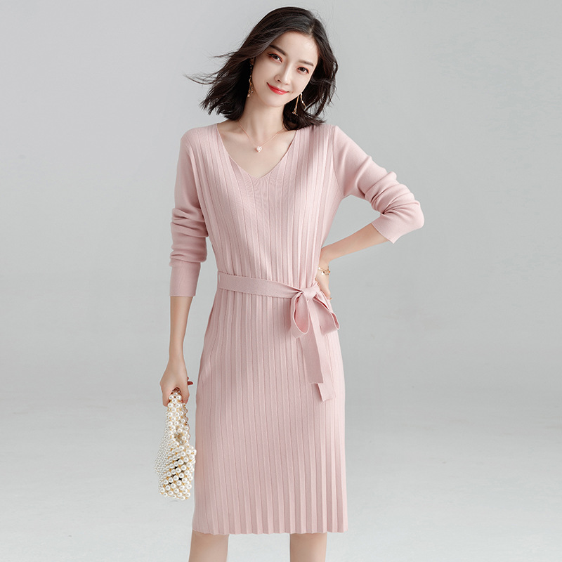 Women's Autumn Winter 2019 New Korean Style Pleated Knit Long Sweater Dress Slim High Quality V-neck Sweaters Dresses SDJ-A0006