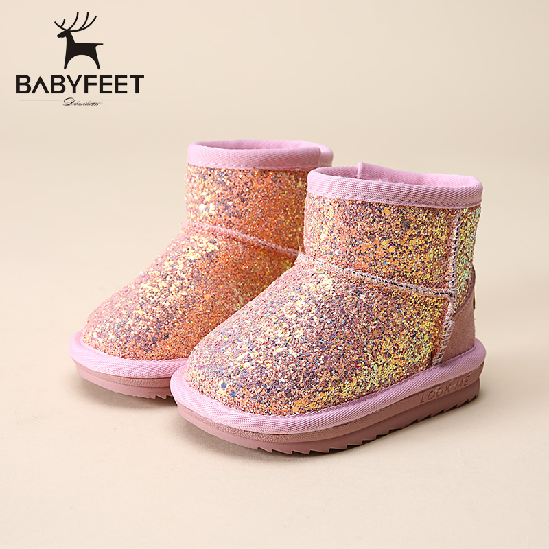 Babyfeet brand 2017 Winter fashion warm Sequined booties casual sport girls flats sneakers kids children ankle snow boots shoes adidas samoa kids casual sneakers
