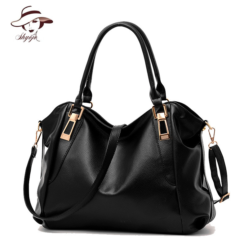 Famous Brand New Simple style Soft PU Leather Handbag Fashion Large Capacity Female High Quality Big Shoulder Tote Messenger Bag xiyuan brand high quality pu leather women messenger shoulder bag big large capacity totes famous bolsa feminina new for girls