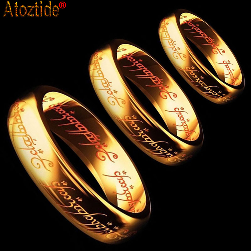 Gold Color Women Men Stainless Steel the One Lord of the Power Rings Hobbit Letter Midi Ring Fashion Gift