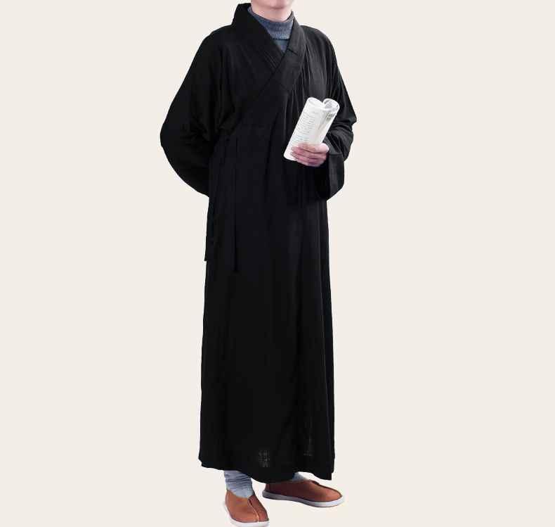 ユニセックス黒仏教少林寺僧侶ローブ仏教禅服レイ瞑想スーツカンフーガウン制服