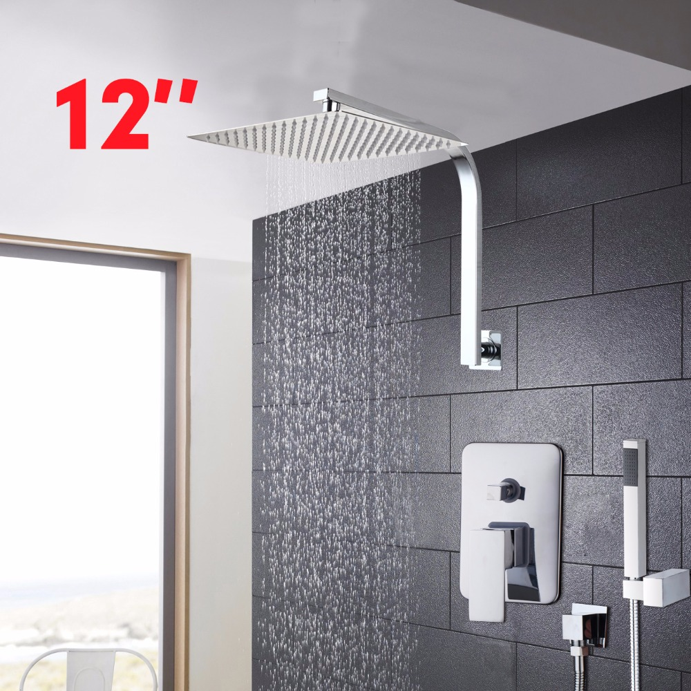 Shower Faucet 12 inch Bathroom Faucet  Rainfall Shower Heads HotCold Water Mixer Fine Shower Faucet sognare new wall mounted bathroom bath shower faucet with handheld shower head chrome finish shower faucet set mixer tap d5205
