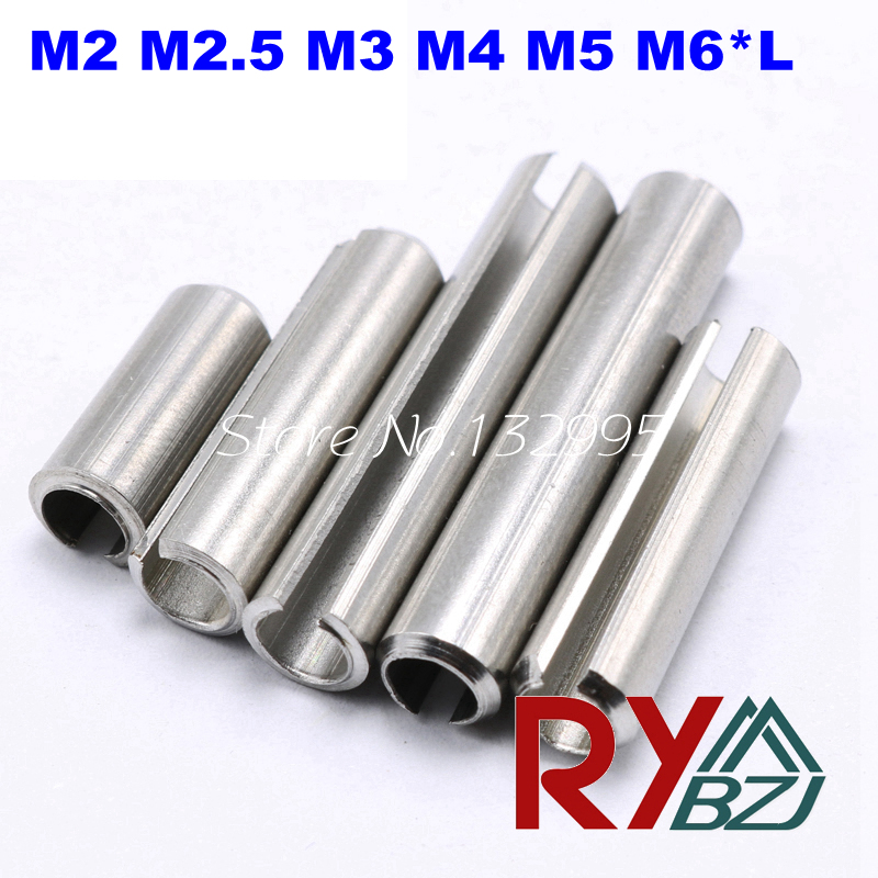 100pcs/lot M2 M2.5 M3 M4 M5 M6*L  Stainless Steel A2 Spring Pin, Spring-type Straight Pins,slotted,heavy Duty,Resilient Pin