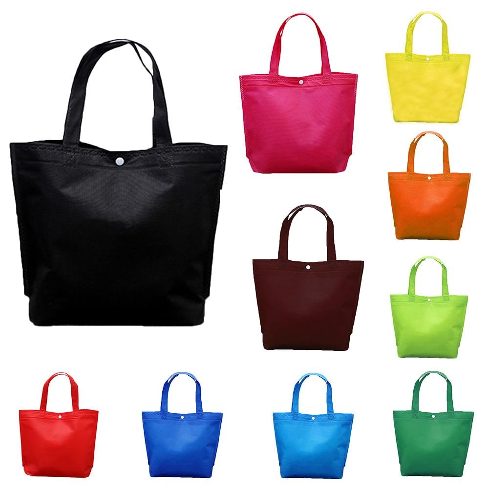 New Reusable Shopping Bag Solid Foldable Button Tote Bag Fashion Customizable Non-Woven Fabric Eco Bag Women Travel Storage