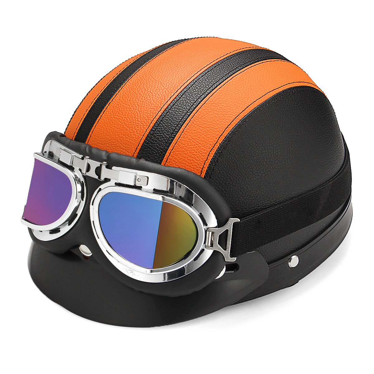 Universal ABS Safety Motorcycle Helmet Half Open Face Helmet Biker Scooter w/ UV Goggles Retro 4-Colors