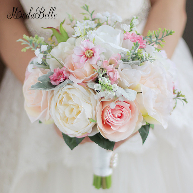 Beautiful Pink Artificial Wedding Flowers Bridal Bouquets Buque De ...