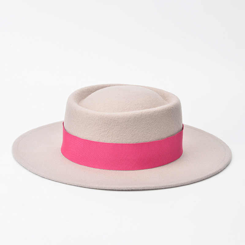 New Phong Cách Mùa Thu mùa đông thời trang mùa xuân Lớn mái hiên mô hình Vòng loại len Flat Top Fedora Hat kích thước khoảng Vành 7 cm Chiều Cao 9 cm