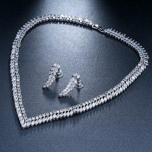 Image 5 - EMMAYA AAA Temizle Kübik Zirkonya Kolye Küpe Takı Setleri CZ Zirkon Taş düğün takısı Setleri Gelinler için