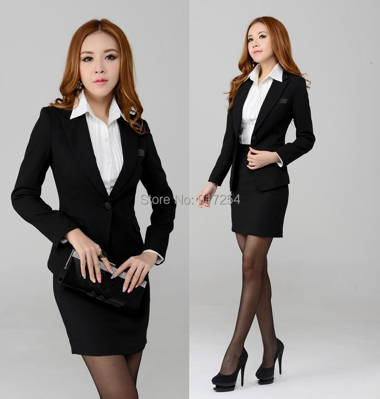 Beautiful MISS 2016 Spring Women Formal Skirt Suits Work Ladies Office Uniform Slim Business Blazer Suit ...