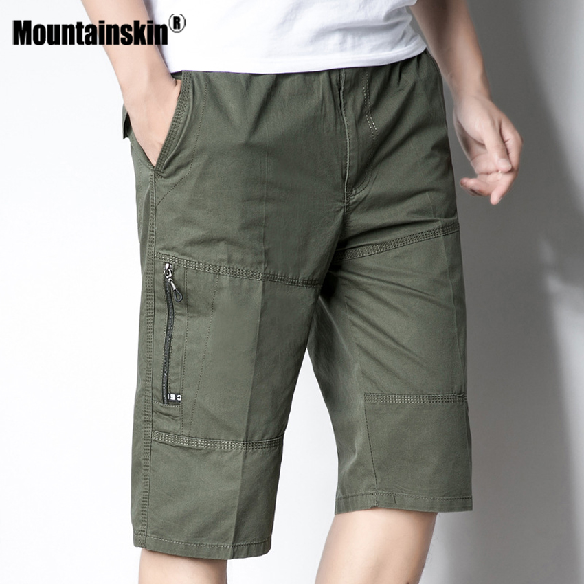 Mountainskin 5XL Men's Summer Shorts Casual Elastic Waist Beach Shorts Joggers Male Knee Length Shorts Mens Brand Clothing SA488
