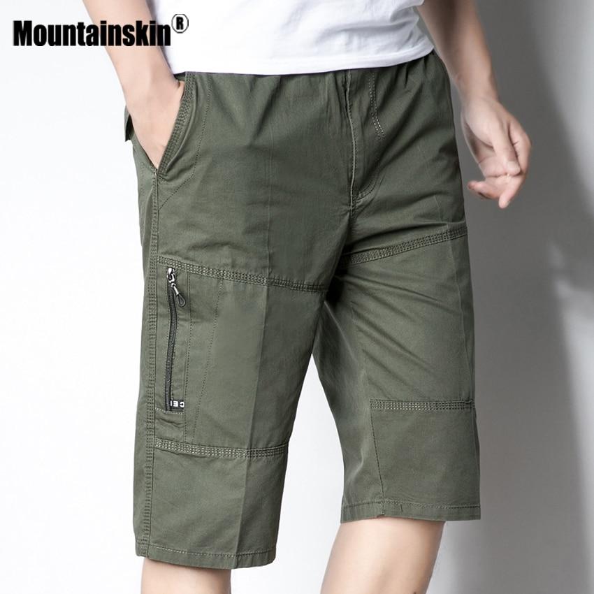 Mountainskin 5XL Men's Summer Shorts Casual Elastic Waist Beach Shorts Joggers Male Knee Length Shorts Mens Brand Clothing SA488