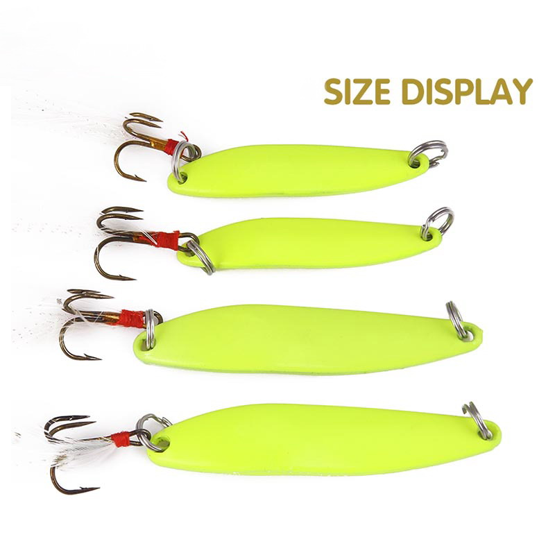 1pcs Winter Metal Spinner Spoon Fishing Lure Hard Bait Sequins Noise Paillette With Feather Treble Hook Luminous Tackle