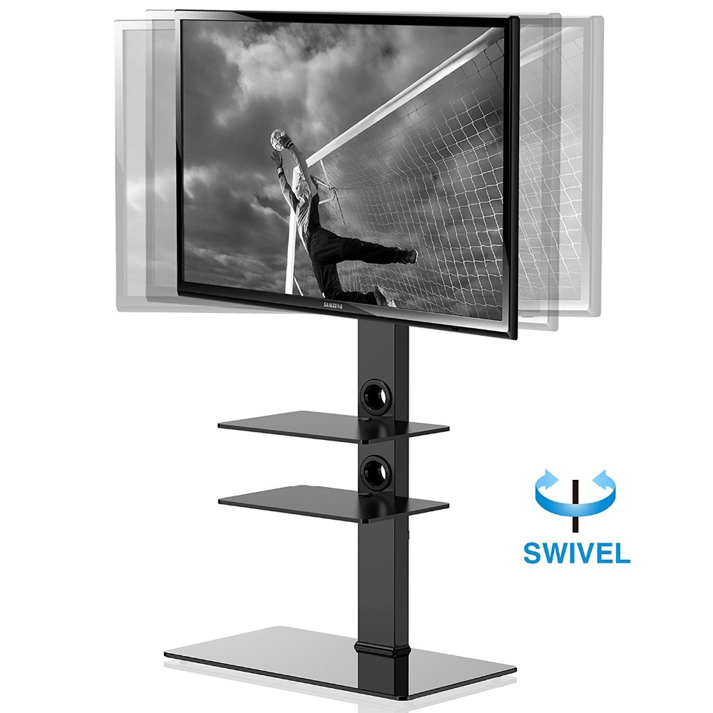 FITUEYES Swivel TV Stand with Mount for 32-65 Inch Flat Screen TV Entertainment Center Height Adjustable