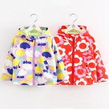 wt-6413 Baby Flower coat 2017 new spring girl kids children hooded windbreaker windbreaker Trench coat