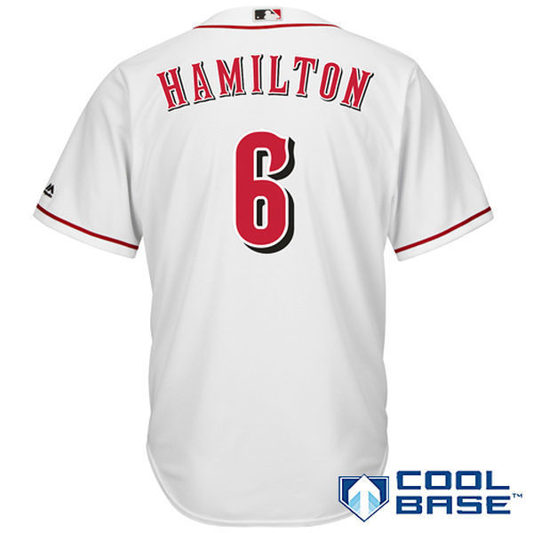 MLB Mens Cincinnati Reds Billy Hamilton Baseball White Home Cool Base Player Jersey