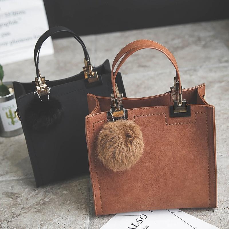 2018 Brand Handbag Women Casual Tote Bag Shoulder Messenger Suede Leather Handbags Fur Ball For Luxury Famous Purses Vintage