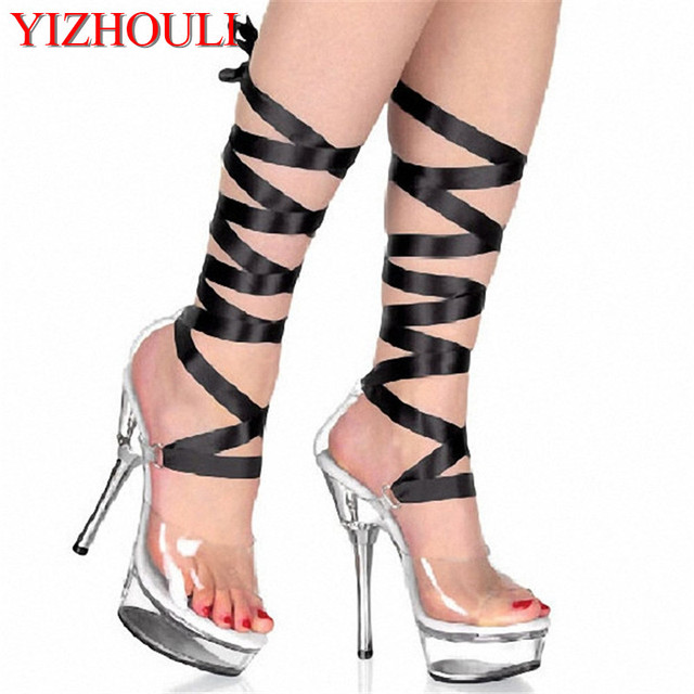 e37f6069c8b Free Postage Fees 5 Inch Clear Crystal Sandals 14cm Platforms Sexy Stripper  Shoes Two Way To Replace The Ribbon High Heel Shoes