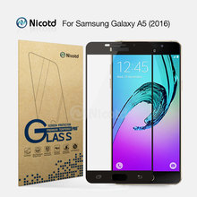 Nicotd 2.5D Color Full Cover Tempered Glass For Samsung Galaxy A5 2016 A5100 Mobile Phone 5.2″ Screen Protector Protective Film