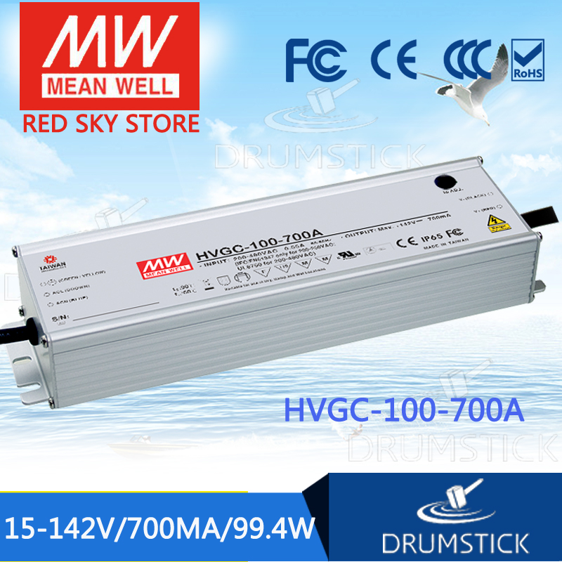 MEAN WELL HVGC-100-700A 15 ~ 142V 700mA meanwell HVGC-100 99.4W Single Output LED Driver Power Supply A Type [powernex] mean well original hvgc 150 700a 21 215v 700ma meanwell hvgc 150 150 5w singleoutput led driver power supply a type