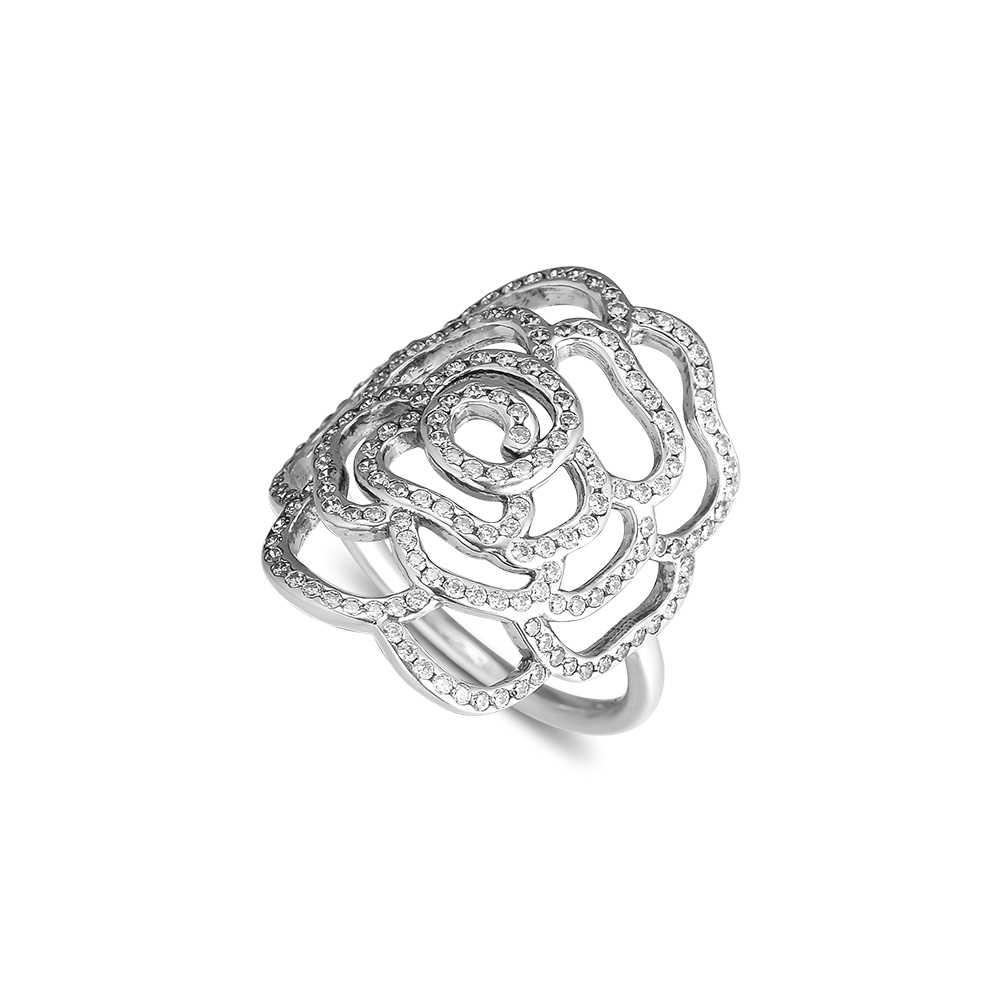 CKK แหวนขนาดใหญ่ Rose แหวนผู้หญิงผู้ชาย Anillos Mujer Anel Bague Femme Wedding หมั้น 925 เงินสเตอร์ลิงเครื่องประดับ