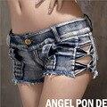 Mulheres Sexy jeans shorts jeans 2017 Moda Verão Puro algodão escavar calções Senhoras Skinny cintura baixa calças curtas calças de brim meninas