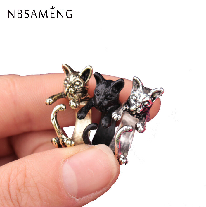 NBSAMENG Min 1pc 2017 Cat Ring Anel Anillos Gato Bague anillo gato Animales Animal Cat Rings For Women Bague Wholesale WAA1006