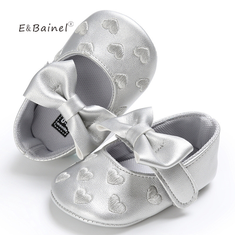E&Bainel Toddler Baby Moccasins PU leather Soft Bottom Shoes First Walkers Baby Shoes Girls Crib Shoes Bow Kids Footwear