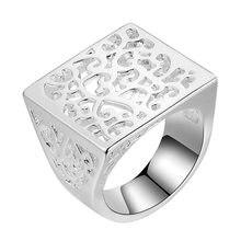 square shiny beautiful Silver plated Ring Fashion Jewerly Ring Women Men ILZMIZVE WFGTZNMW