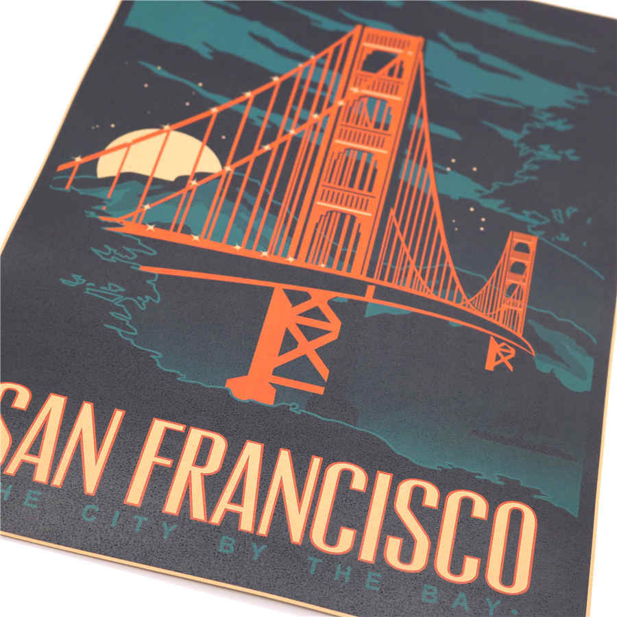 Vintage Golden Gate Bridge Poster Retro schilderen Abstract print picture Cafe Woonkamer Decor Muursticker 42x30 cm