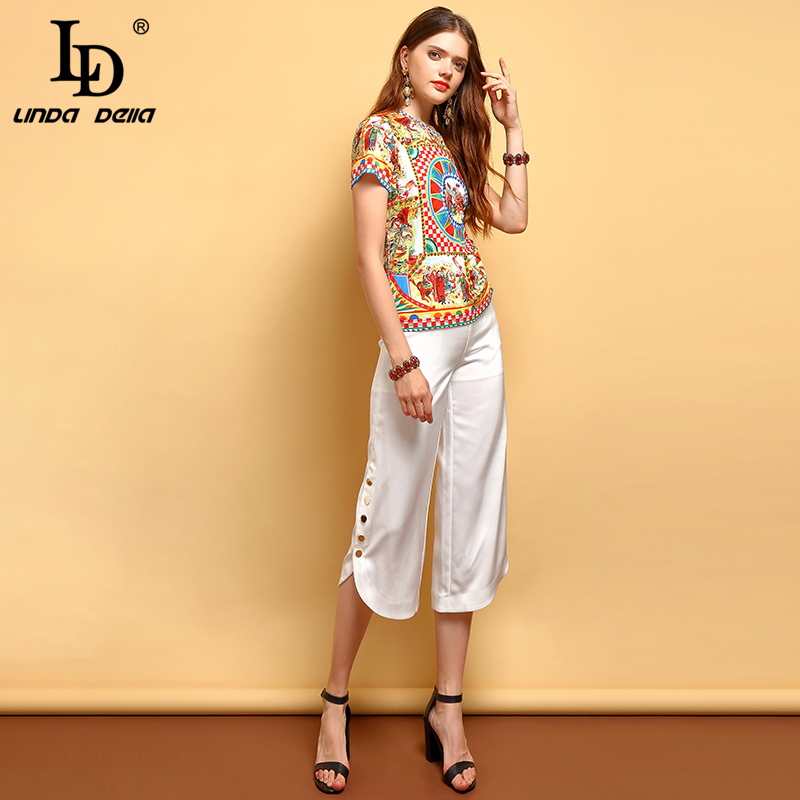 LD LINDA DELLA Fashion Runway Summer Wild T Shirt Women 39 s Crystal Beading Character Print Elegant Vintage Short Sleeve T Shirt in T Shirts from Women 39 s Clothing