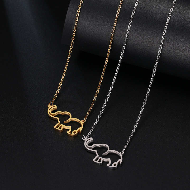 DOTIFI Stainless Steel Necklace For Women Lover's Origami Elephant Pendant Necklaces For Women Gothic Jewelry Collares De Moda 4