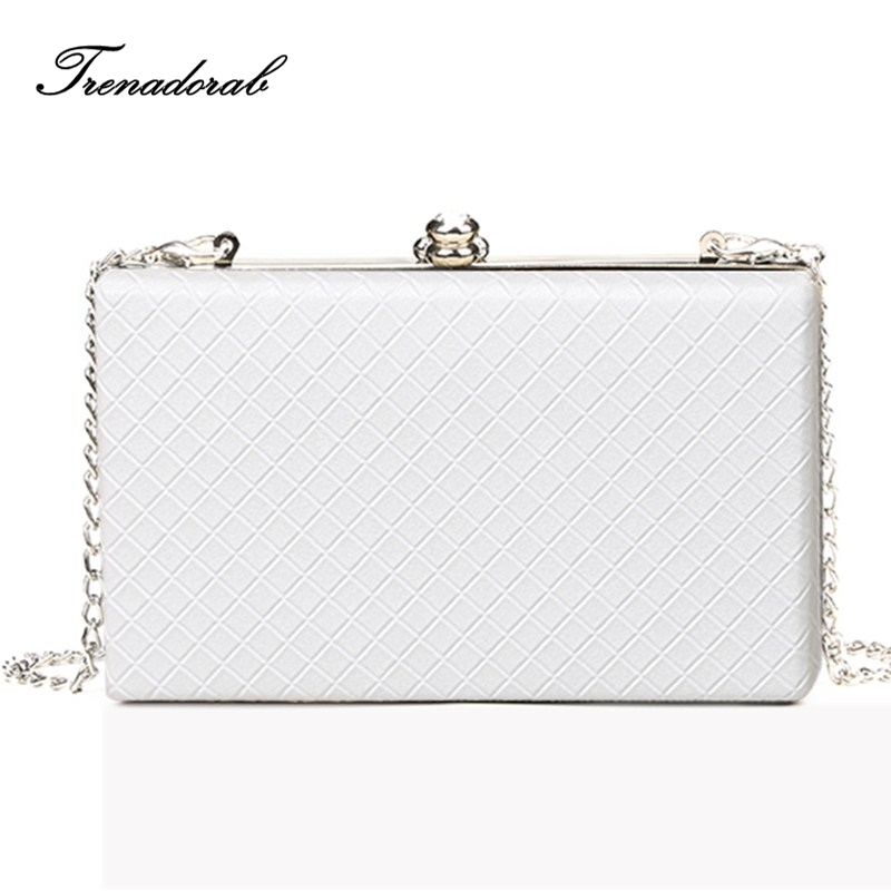 Trenadorab 2018 White ladies frame bag black women leather clutches purse Gold silver Black diamond Lattice handbag on chain