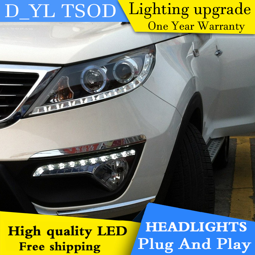 Car styling for Kia Sport LED Headlights 2011 2014 Headlamp assembly Turn lights DRL lens H7 HID xenon bi xenon lens Accessories - 5