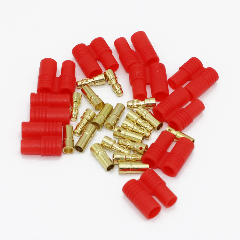 20pcs/lot 3.5mm Gold Bullet Banana Connector Plug With Protective Sleeve For ESC Battery Motor (10 Pair)