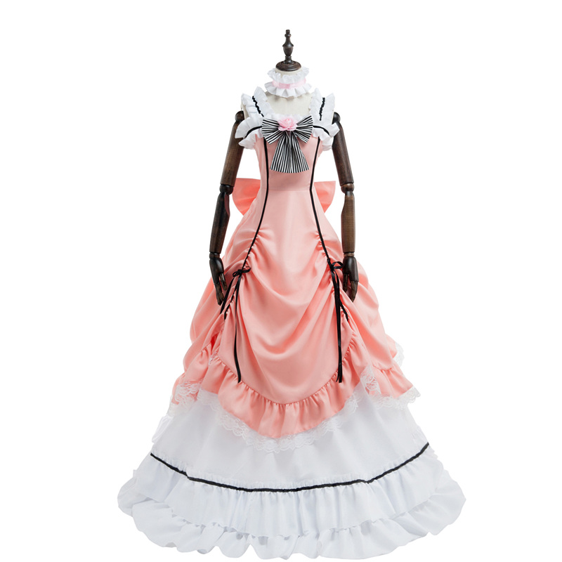 Black Butler Kuroshitsuji Ciel Phantomhive Women Party Dress Lolita Cosplay Costume Whole Set