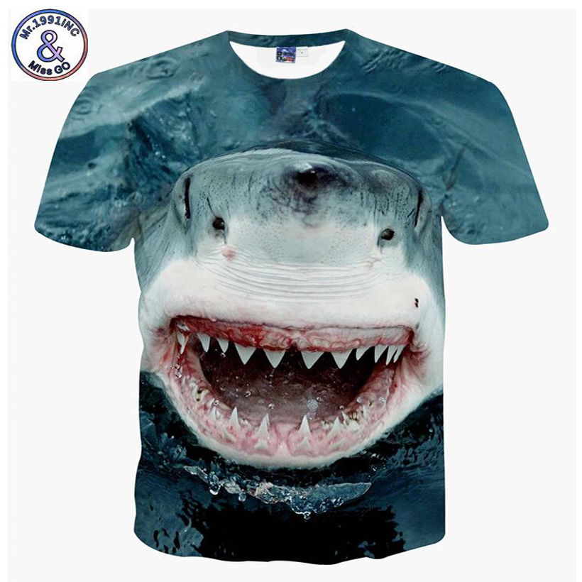 Mr.1991 brand New design Big white shark 3D printed t-shirt for boys or girls big kids t shirts teens tops tee A59 женская футболка brand new t tee 1699