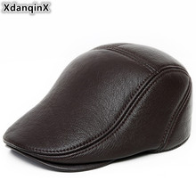 XdanqinX Genuine Leather Hat Autumn Winter New Style Mens Sheepskin Berets Hats Adjustable Size Tongue Cap Dads Caps