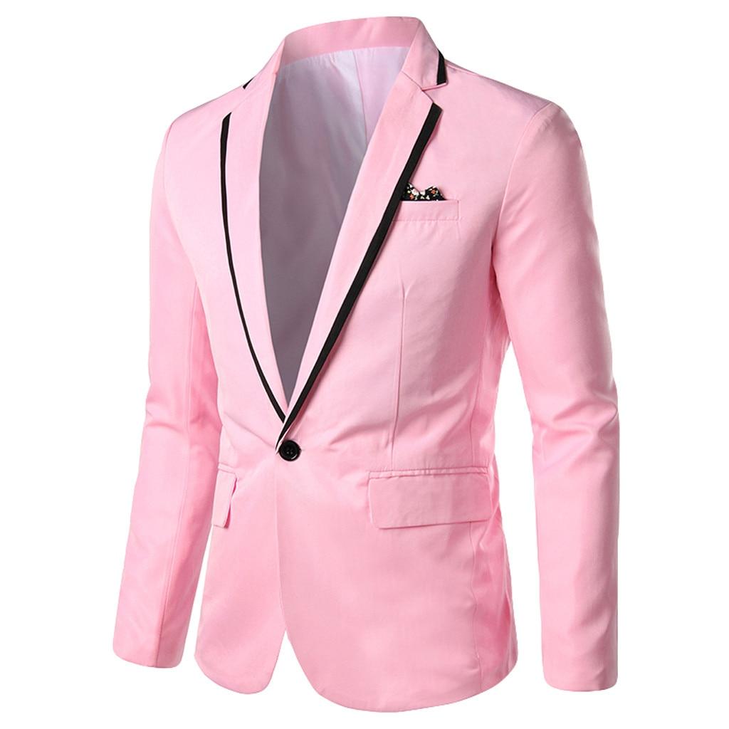 Men Blazer Masculino Sobretudo Masculino Blazers 2019 Fashion New Stylish Solid Blazer Wedding Party Outwear Polyester Coat Z4